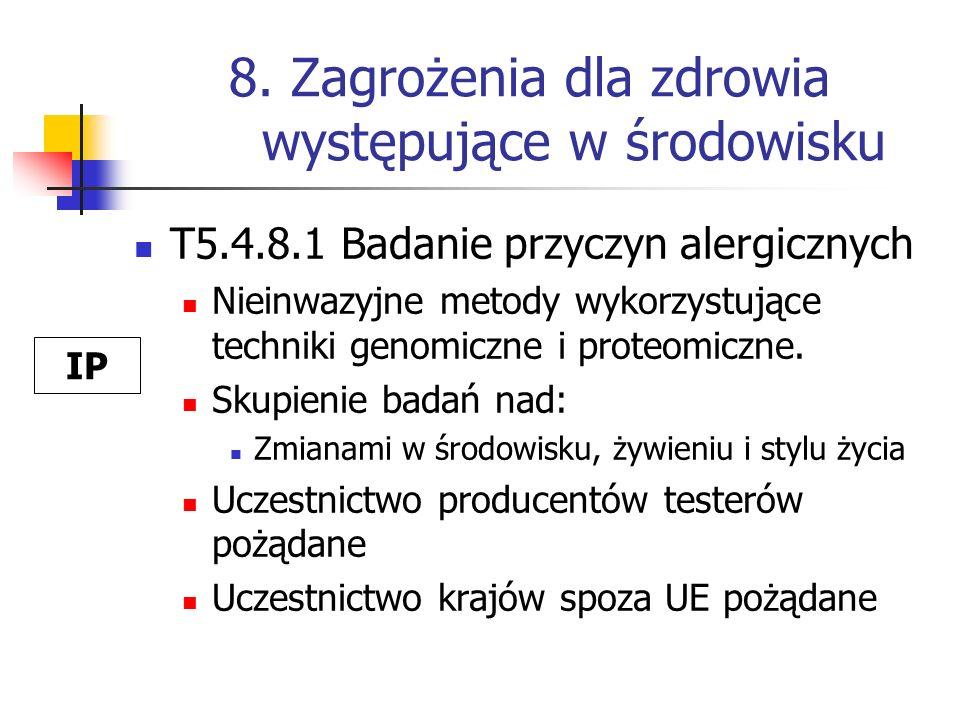 8. Zagrożenia dla zdrowia występujące w środowisku T5.4.8.1 Badanie przyczyn alergicznych Nieinwazyjne metody wykorzystujące techniki genomiczne i pro