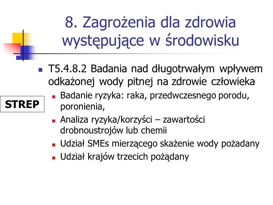 8. Zagrożenia dla zdrowia występujące w środowisku T5.4.8.2 Badania nad długotrwałym wpływem odkażonej wody pitnej na zdrowie człowieka Badanie ryzyka