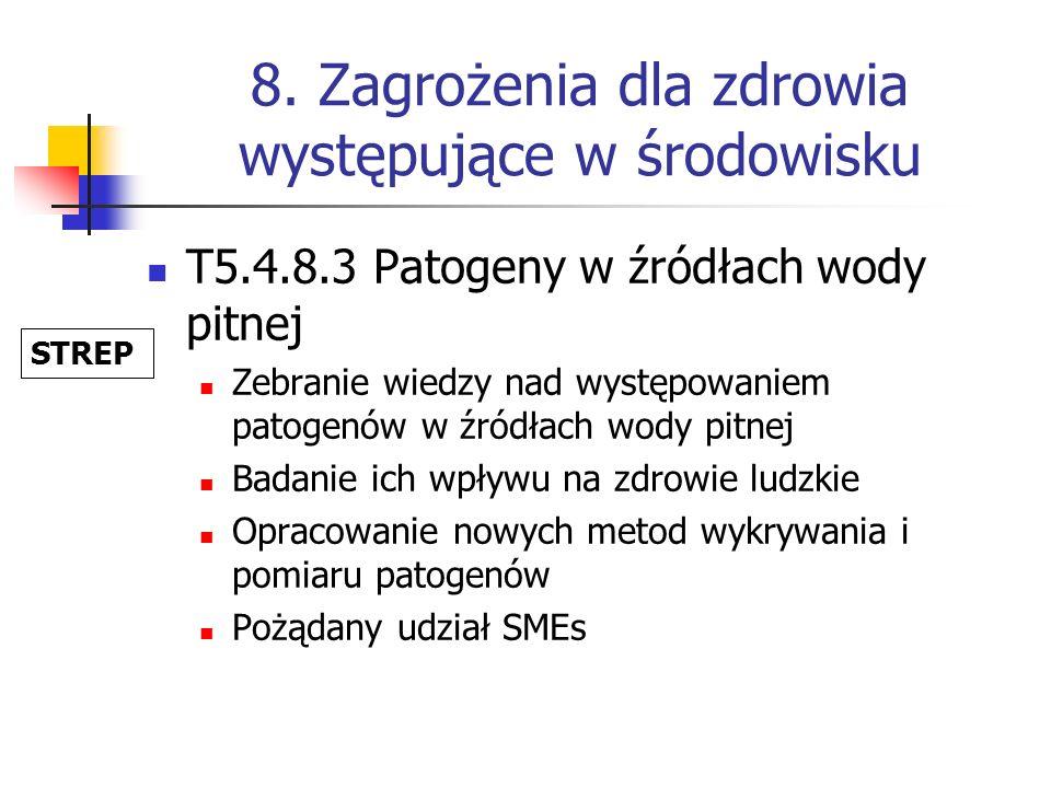 8. Zagrożenia dla zdrowia występujące w środowisku T5.4.8.3 Patogeny w źródłach wody pitnej Zebranie wiedzy nad występowaniem patogenów w źródłach wod