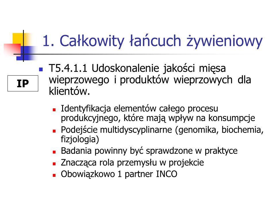 1. Całkowity łańcuch żywieniowy T5.4.1.1 Udoskonalenie jakości mięsa wieprzowego i produktów wieprzowych dla klientów. Identyfikacja elementów całego