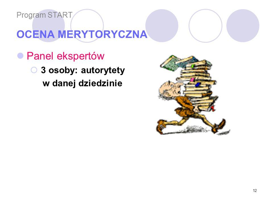12 Program START OCENA MERYTORYCZNA Panel ekspertów 3 osoby: autorytety w danej dziedzinie
