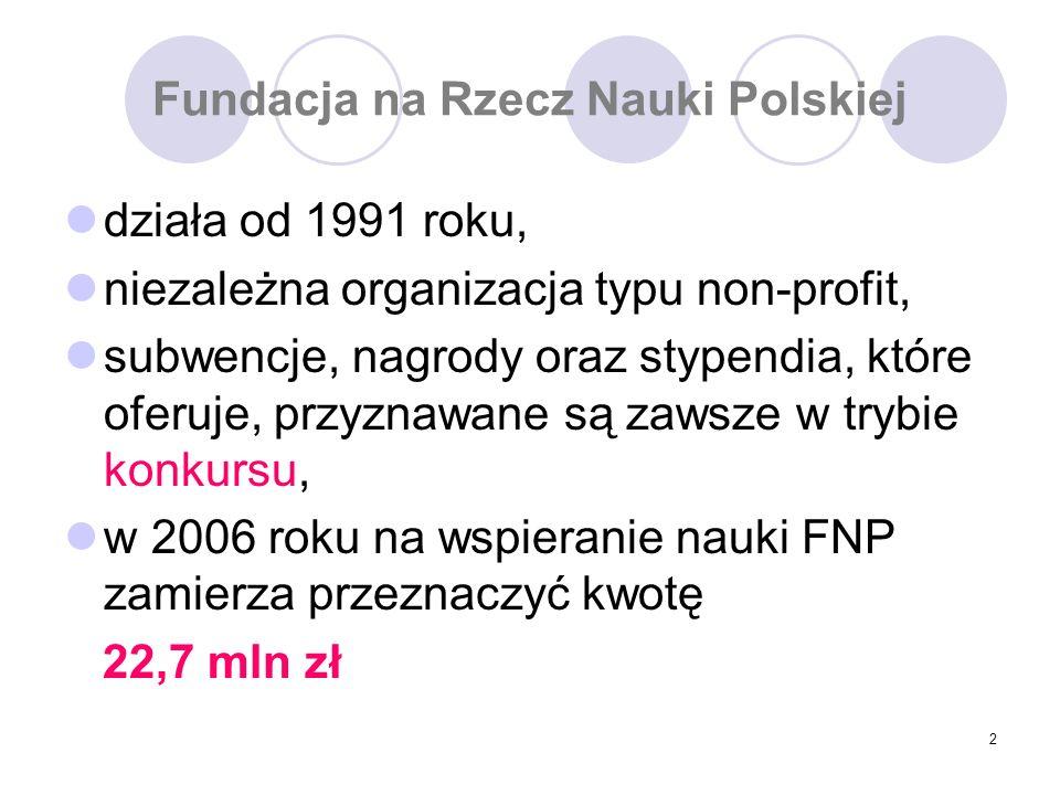 2 Fundacja na Rzecz Nauki Polskiej działa od 1991 roku, niezależna organizacja typu non-profit, subwencje, nagrody oraz stypendia, które oferuje, przyznawane są zawsze w trybie konkursu, w 2006 roku na wspieranie nauki FNP zamierza przeznaczyć kwotę 22,7 mln zł