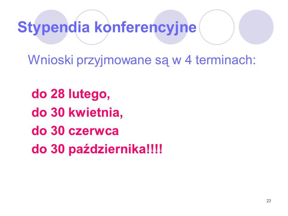 23 Stypendia konferencyjne Wnioski przyjmowane są w 4 terminach: do 28 lutego, do 30 kwietnia, do 30 czerwca do 30 października!!!!