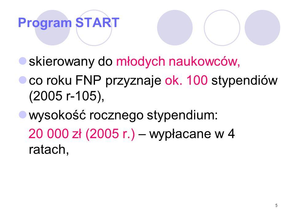 5 Program START skierowany do młodych naukowców, co roku FNP przyznaje ok.