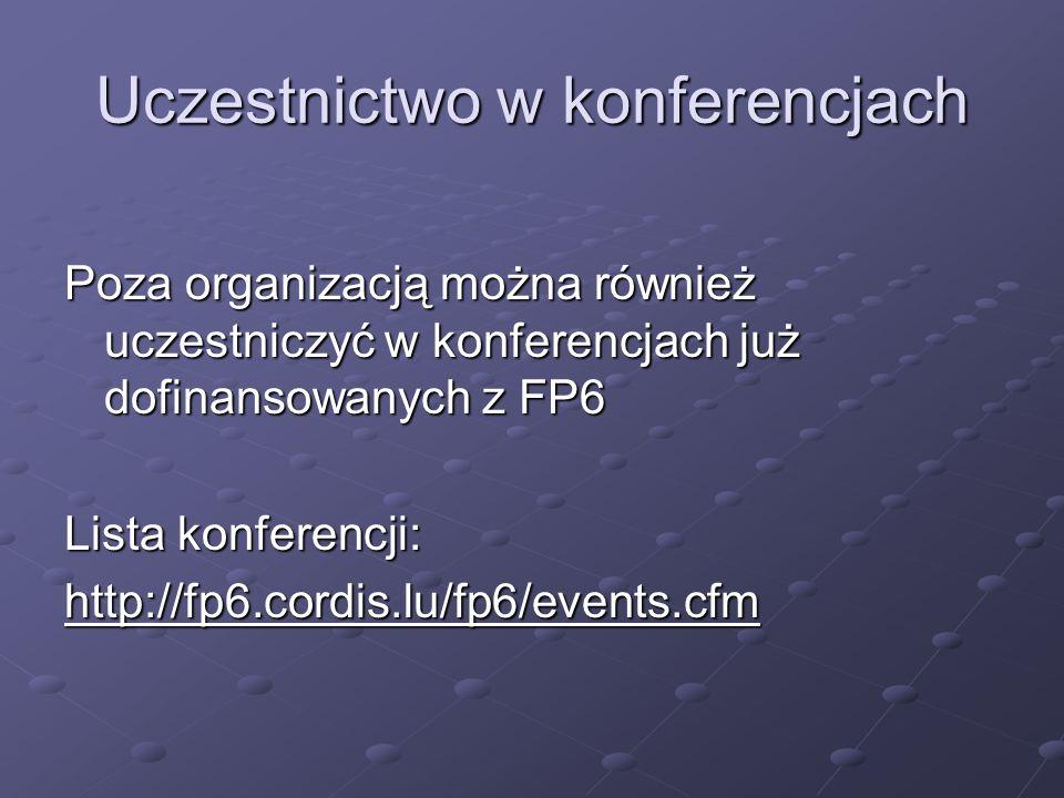 Uczestnictwo w konferencjach Poza organizacją można również uczestniczyć w konferencjach już dofinansowanych z FP6 Lista konferencji: http://fp6.cordis.lu/fp6/events.cfm