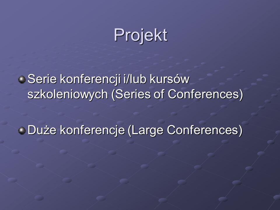 Projekt Serie konferencji i/lub kursów szkoleniowych (Series of Conferences) Duże konferencje (Large Conferences)