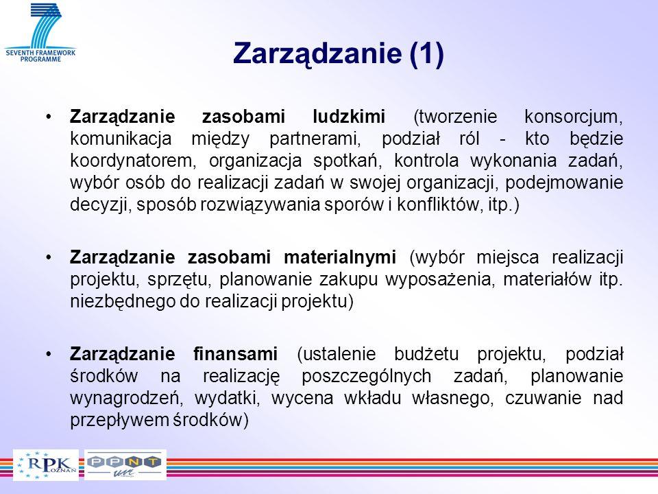 Zarządzanie (1) Zarządzanie zasobami ludzkimi (tworzenie konsorcjum, komunikacja między partnerami, podział ról - kto będzie koordynatorem, organizacj
