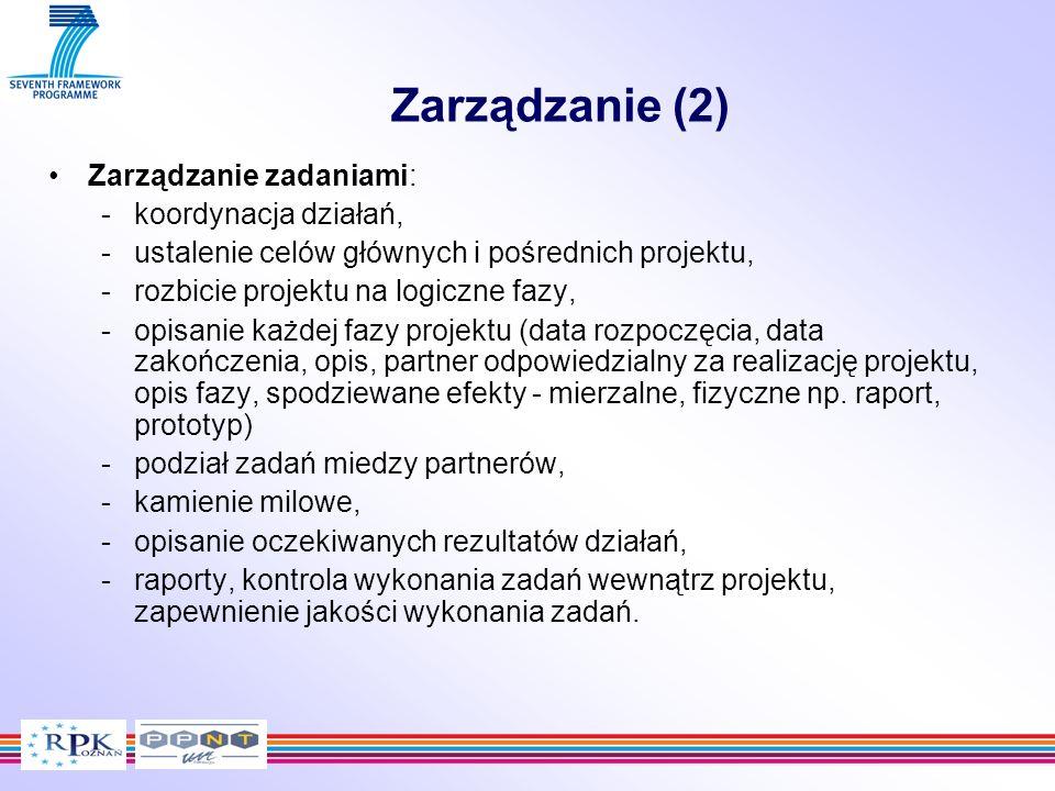Zarządzanie (2) Zarządzanie zadaniami: -koordynacja działań, -ustalenie celów głównych i pośrednich projektu, -rozbicie projektu na logiczne fazy, -op