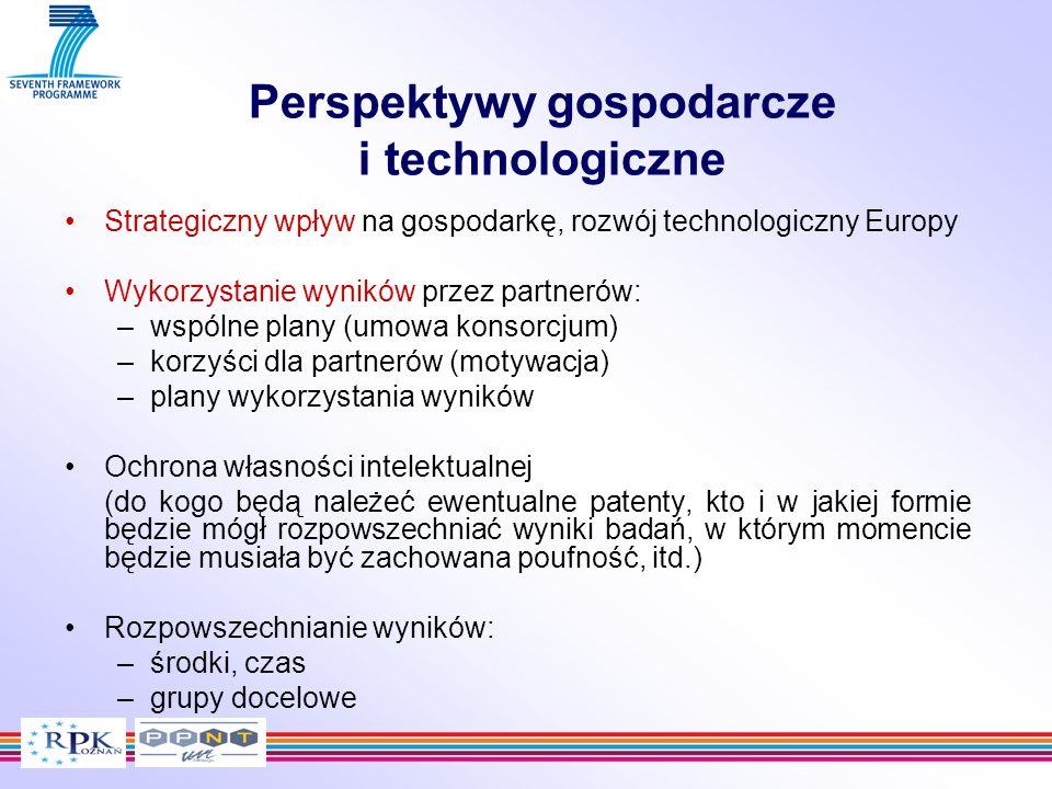 Perspektywy gospodarcze i technologiczne Strategiczny wpływ na gospodarkę, rozwój technologiczny Europy Wykorzystanie wyników przez partnerów: –wspóln