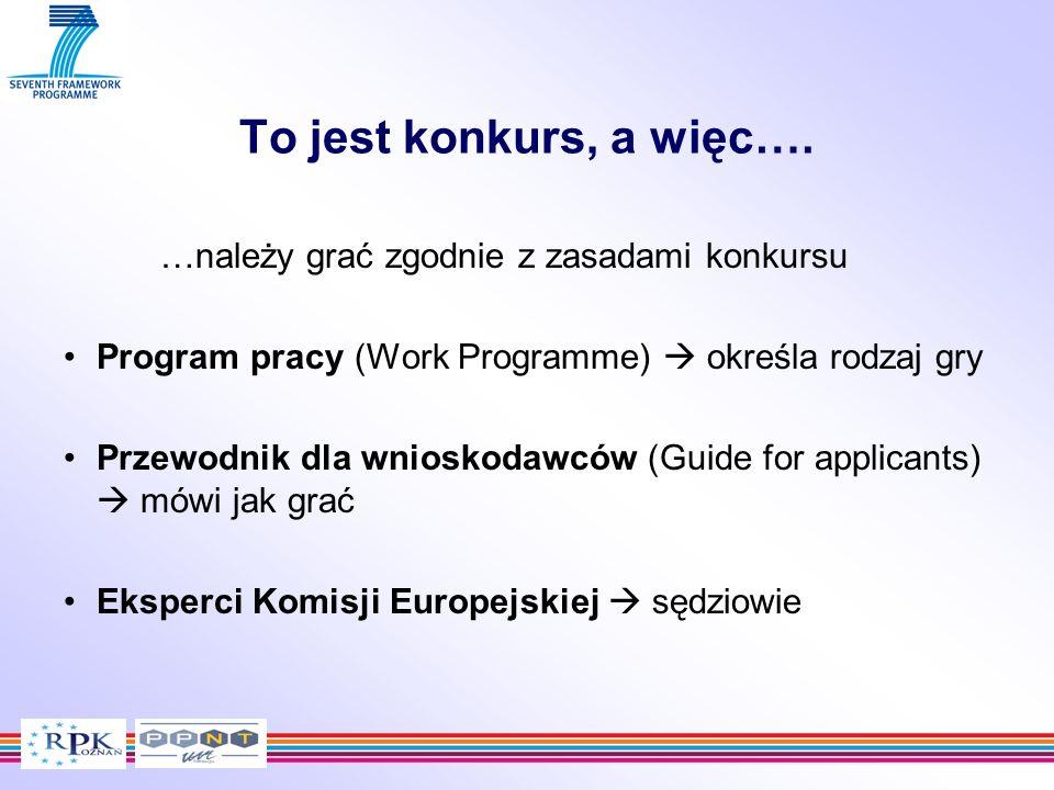 To jest konkurs, a więc…. …należy grać zgodnie z zasadami konkursu Program pracy (Work Programme) określa rodzaj gry Przewodnik dla wnioskodawców (Gui
