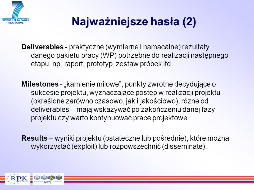 Deliverables - praktyczne (wymierne i namacalne) rezultaty danego pakietu pracy (WP) potrzebne do realizacji następnego etapu, np. raport, prototyp, z