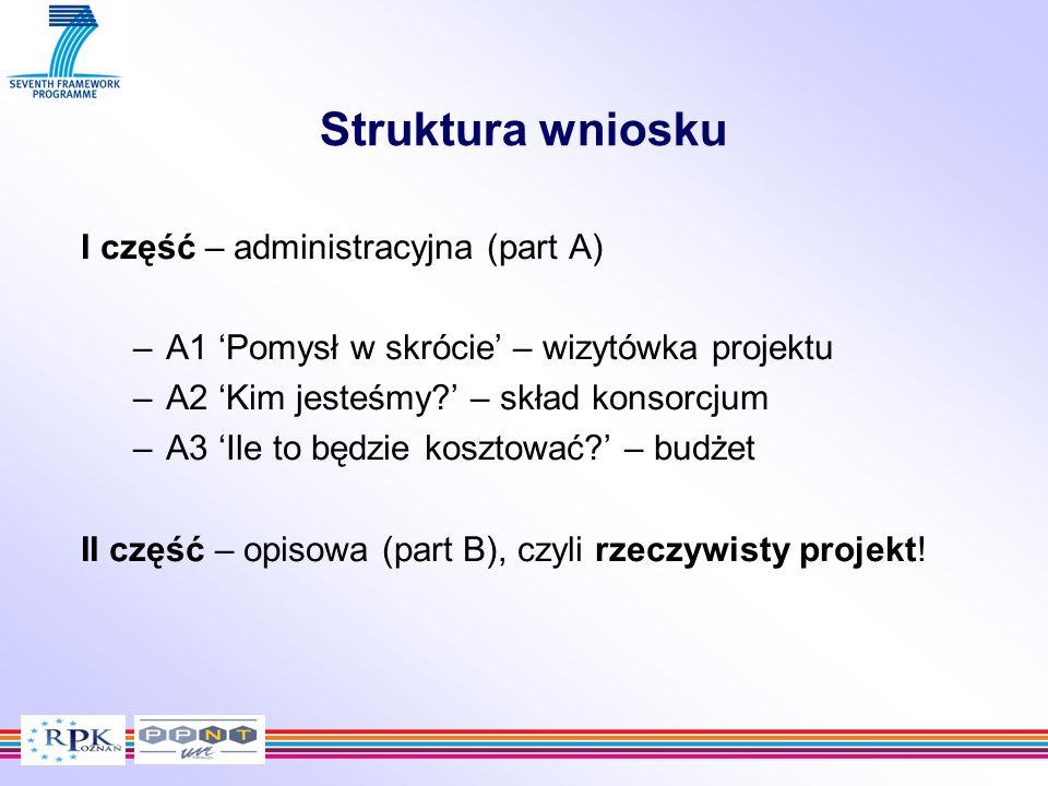 Struktura wniosku I część – administracyjna (part A) –A1 Pomysł w skrócie – wizytówka projektu –A2 Kim jesteśmy? – skład konsorcjum –A3 Ile to będzie