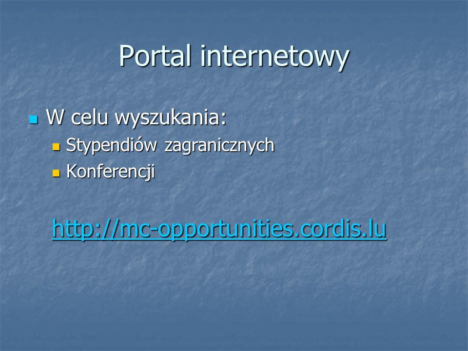 Portal internetowy W celu wyszukania: W celu wyszukania: Stypendiów zagranicznych Stypendiów zagranicznych Konferencji Konferencjihttp://mc-opportunities.cordis.lu