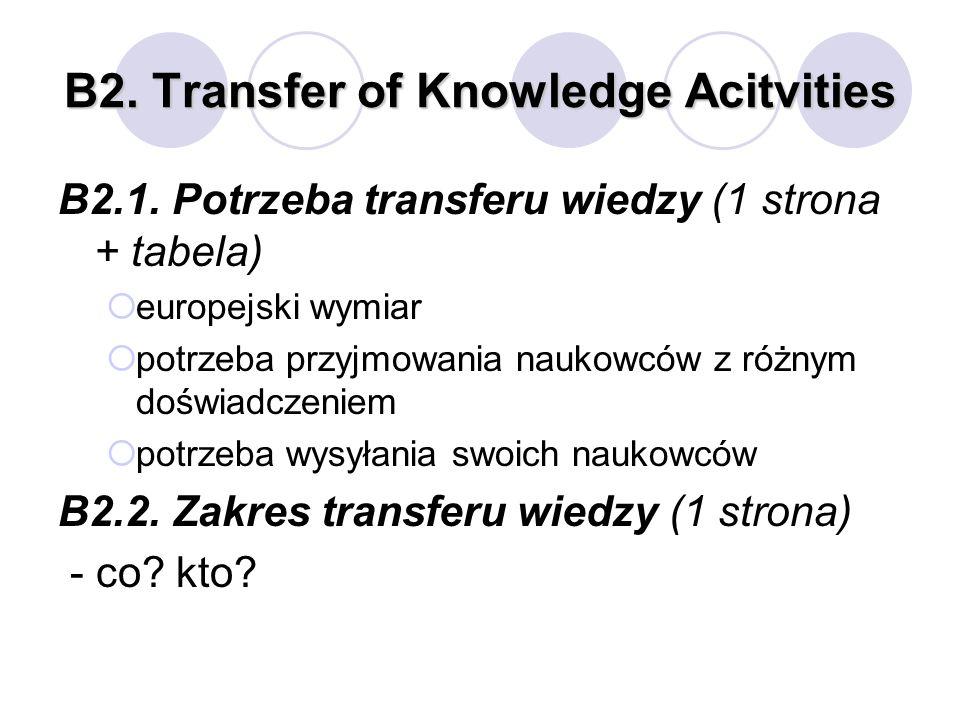 B2. Transfer of Knowledge Acitvities B2.1. Potrzeba transferu wiedzy (1 strona + tabela) europejski wymiar potrzeba przyjmowania naukowców z różnym do
