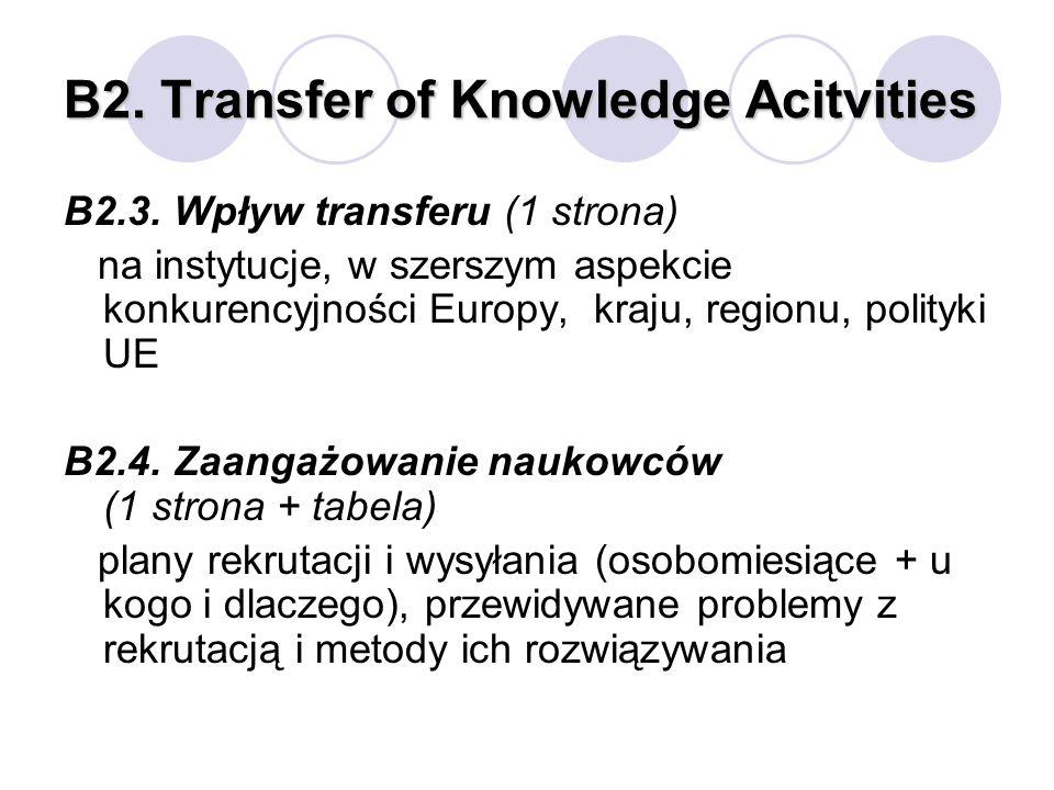 B2. Transfer of Knowledge Acitvities B2.3. Wpływ transferu (1 strona) na instytucje, w szerszym aspekcie konkurencyjności Europy, kraju, regionu, poli