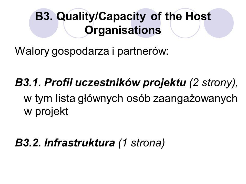 B3. Quality/Capacity of the Host Organisations Walory gospodarza i partnerów: B3.1. Profil uczestników projektu (2 strony), w tym lista głównych osób