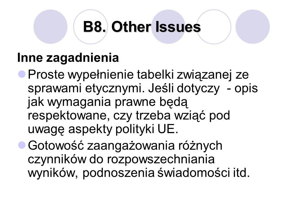 B8.Other Issues Inne zagadnienia Proste wypełnienie tabelki związanej ze sprawami etycznymi. Jeśli dotyczy - opis jak wymagania prawne będą respektowa