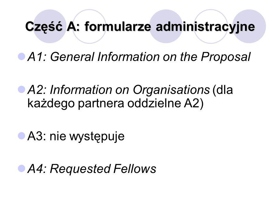 Część A: formularze administracyjne A1: General Information on the Proposal A2: Information on Organisations (dla każdego partnera oddzielne A2) A3: n