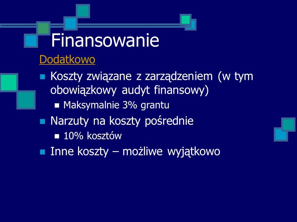 Finansowanie Dodatkowo Koszty związane z zarządzeniem (w tym obowiązkowy audyt finansowy) Maksymalnie 3% grantu Narzuty na koszty pośrednie 10% kosztó