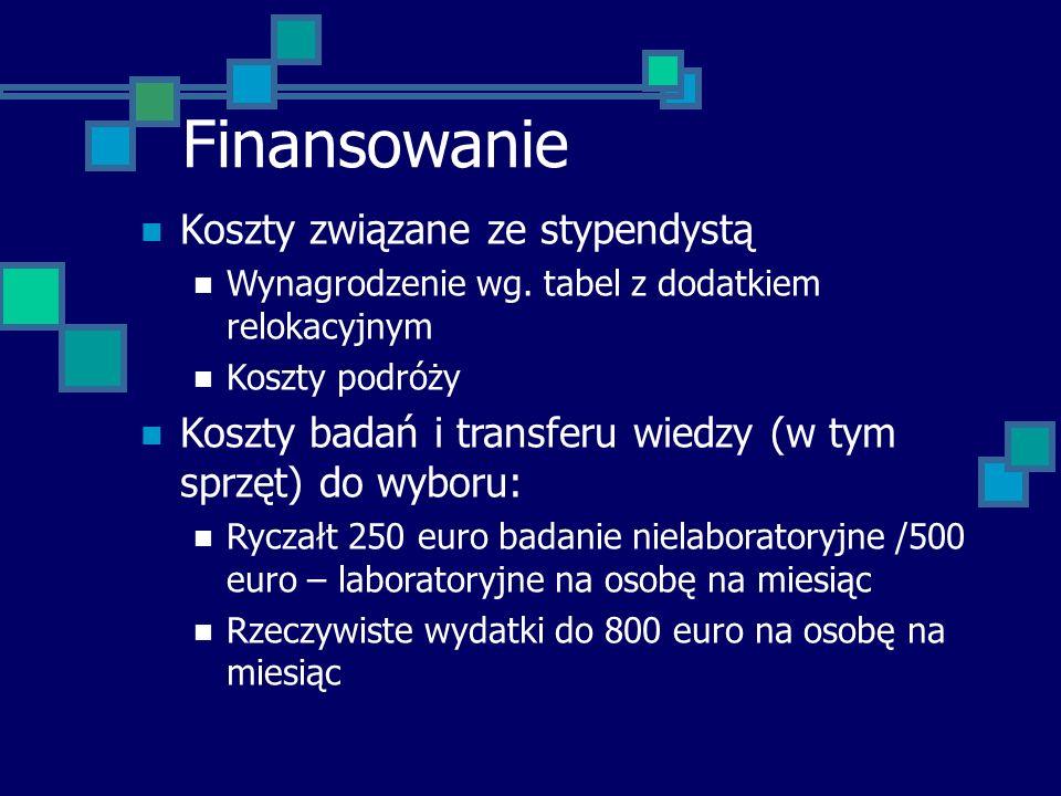 Finansowanie Koszty związane ze stypendystą Wynagrodzenie wg. tabel z dodatkiem relokacyjnym Koszty podróży Koszty badań i transferu wiedzy (w tym spr
