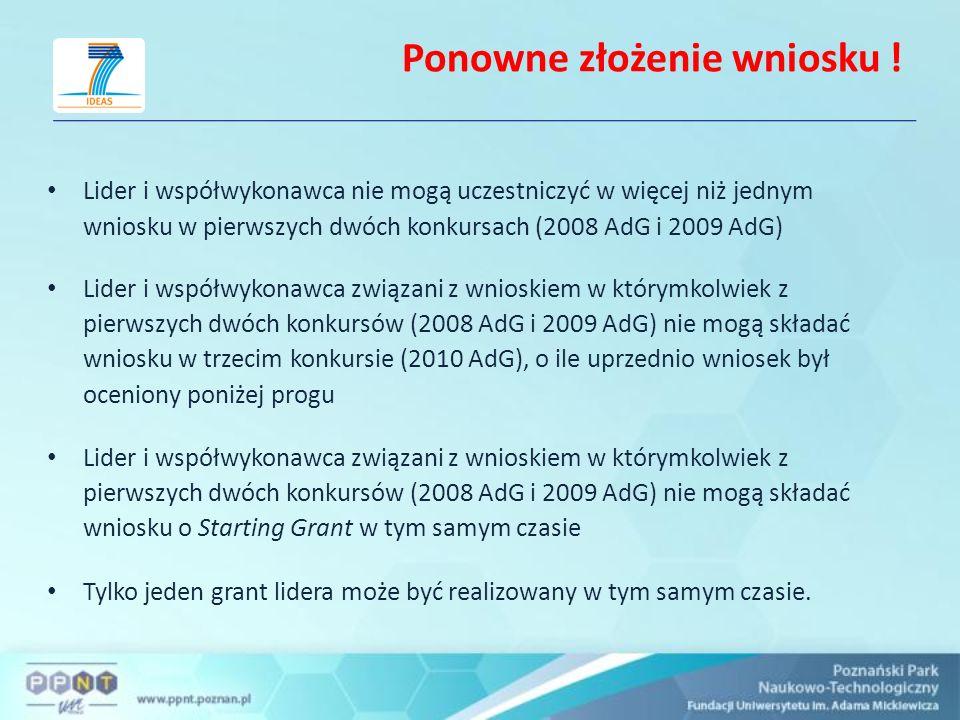 Ponowne złożenie wniosku ! Lider i współwykonawca nie mogą uczestniczyć w więcej niż jednym wniosku w pierwszych dwóch konkursach (2008 AdG i 2009 AdG