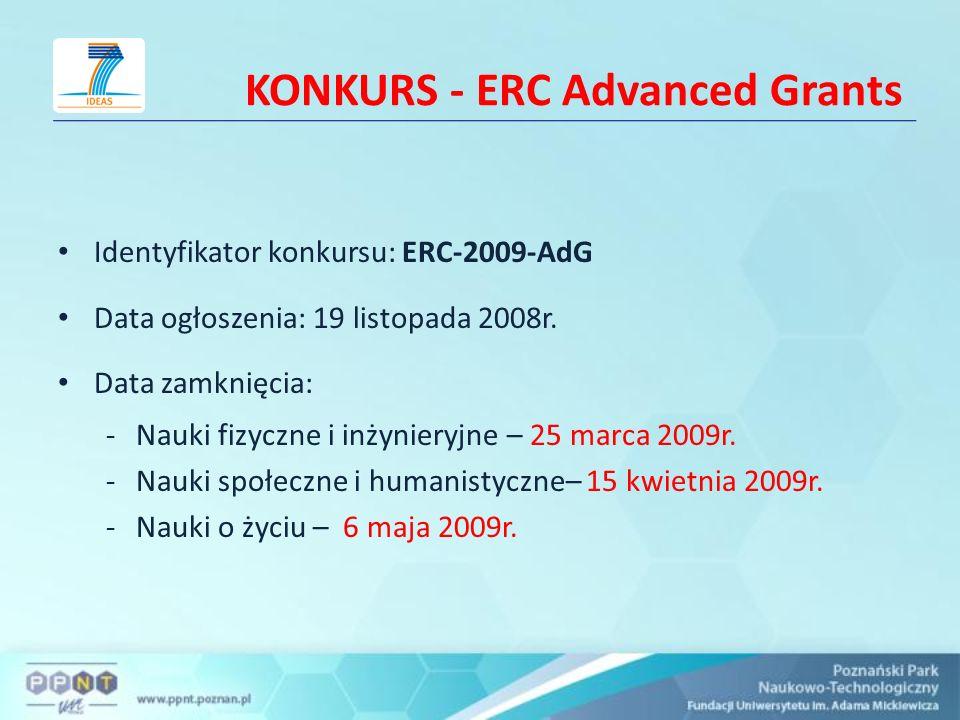 KONKURS - ERC Advanced Grants Identyfikator konkursu: ERC-2009-AdG Data ogłoszenia: 19 listopada 2008r. Data zamknięcia: -Nauki fizyczne i inżynieryjn