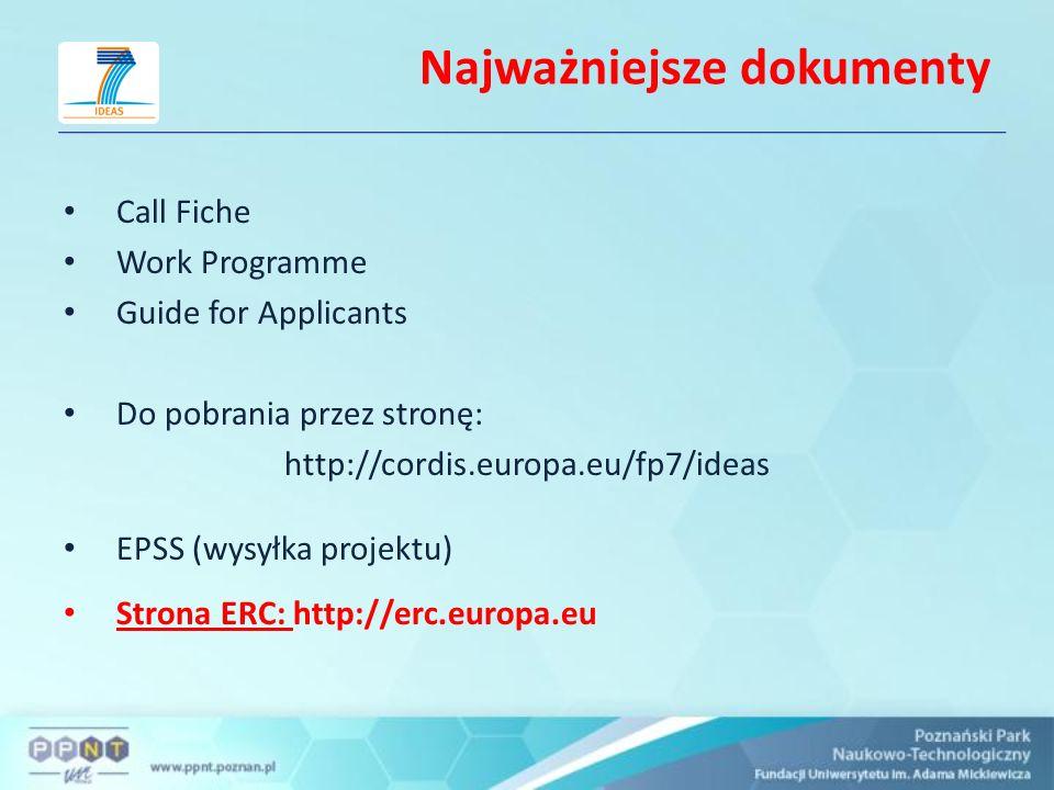 Najważniejsze dokumenty Call Fiche Work Programme Guide for Applicants Do pobrania przez stronę: http://cordis.europa.eu/fp7/ideas EPSS (wysyłka proje