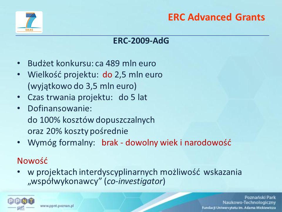 ERC Advanced Grants ERC-2009-AdG Budżet konkursu: ca 489 mln euro Wielkość projektu: do 2,5 mln euro (wyjątkowo do 3,5 mln euro) Czas trwania projektu