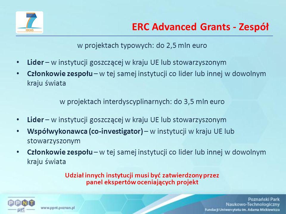 ERC Advanced Grants - Zespół w projektach typowych: do 2,5 mln euro Lider – w instytucji goszczącej w kraju UE lub stowarzyszonym Członkowie zespołu –