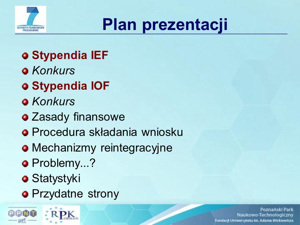 Konkurs Konkurs Marie Curie Intra-European Fellowships for Career Developme (MC IEF) Konkurs ogłoszony: FP7-PEOPLE-IEF-2008 19 marca 2008r.