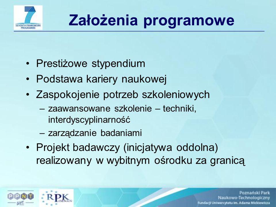 Zasady finansowe (2) Koszty instytucji Pokrycie kosztów instytucji (koszty badań, szkoleń, uczestnictwa w konferencjach, publikacji etc.) –500 euro na miesiąc –800 euro na miesiąc (badania laboratoryjne) Koszty zarządzania – do 3% grantu Koszty ogólne – 10% kosztów bezpośrednich (oprócz podzleceń)