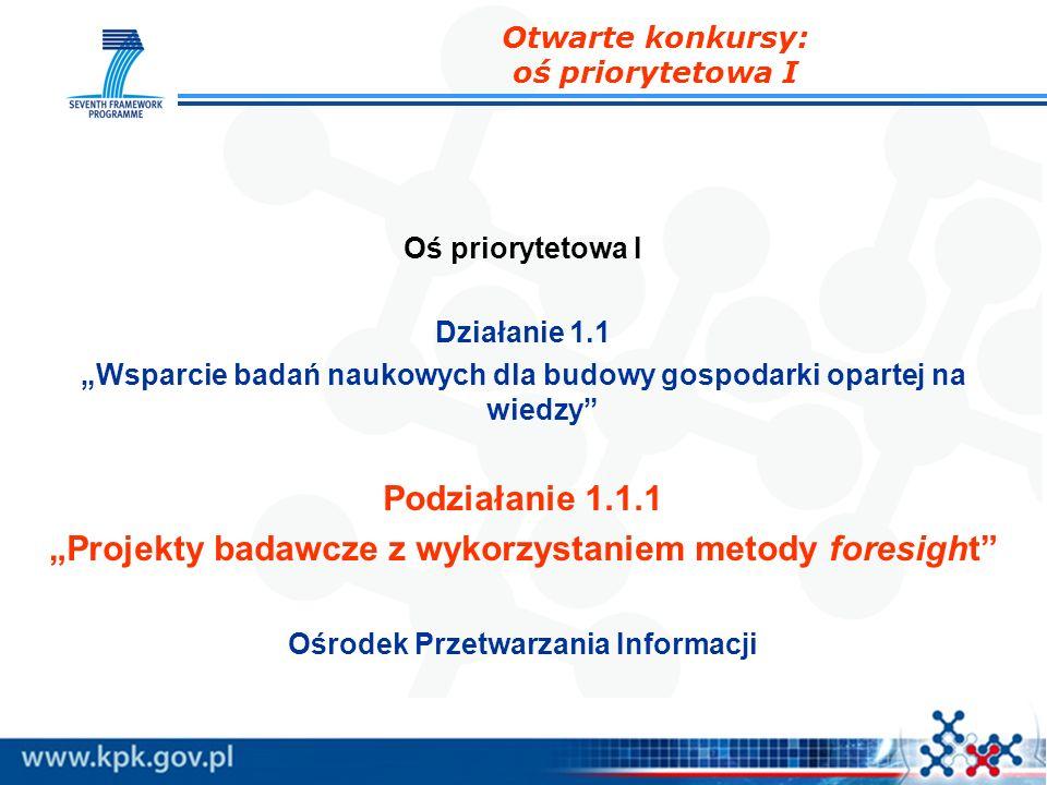 Oś priorytetowa I Działanie 1.1 Wsparcie badań naukowych dla budowy gospodarki opartej na wiedzy Podziałanie 1.1.1 Projekty badawcze z wykorzystaniem