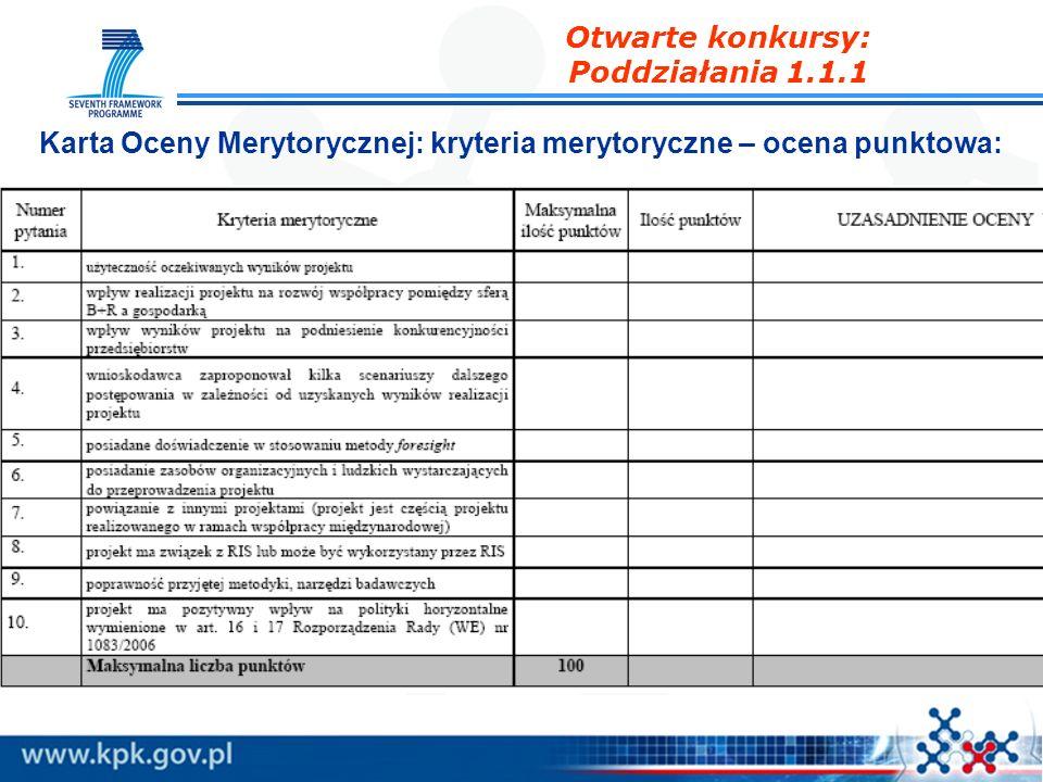 Karta Oceny Merytorycznej: kryteria merytoryczne – ocena punktowa: