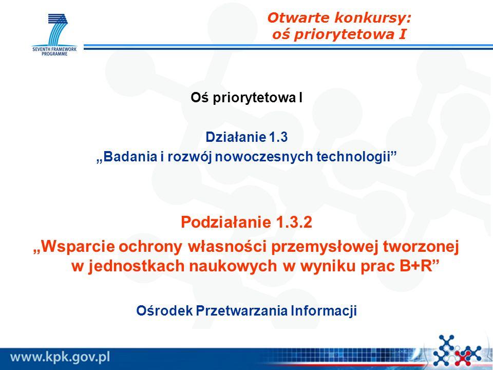 Oś priorytetowa I Działanie 1.3 Badania i rozwój nowoczesnych technologii Podziałanie 1.3.2 Wsparcie ochrony własności przemysłowej tworzonej w jednos