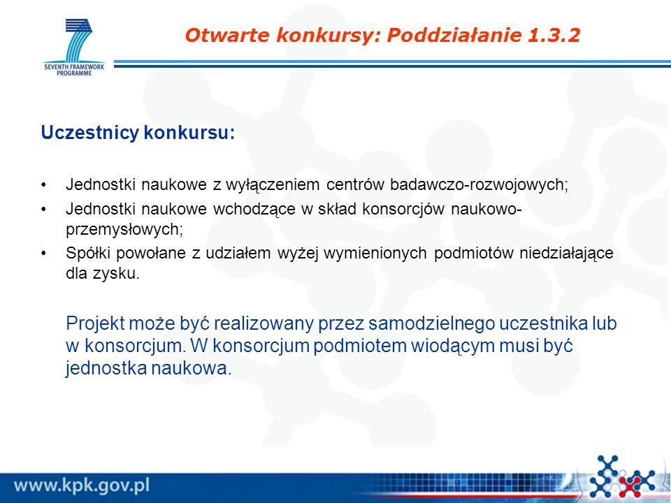 Otwarte konkursy: Poddziałanie 1.3.2 Uczestnicy konkursu: Jednostki naukowe z wyłączeniem centrów badawczo-rozwojowych; Jednostki naukowe wchodzące w