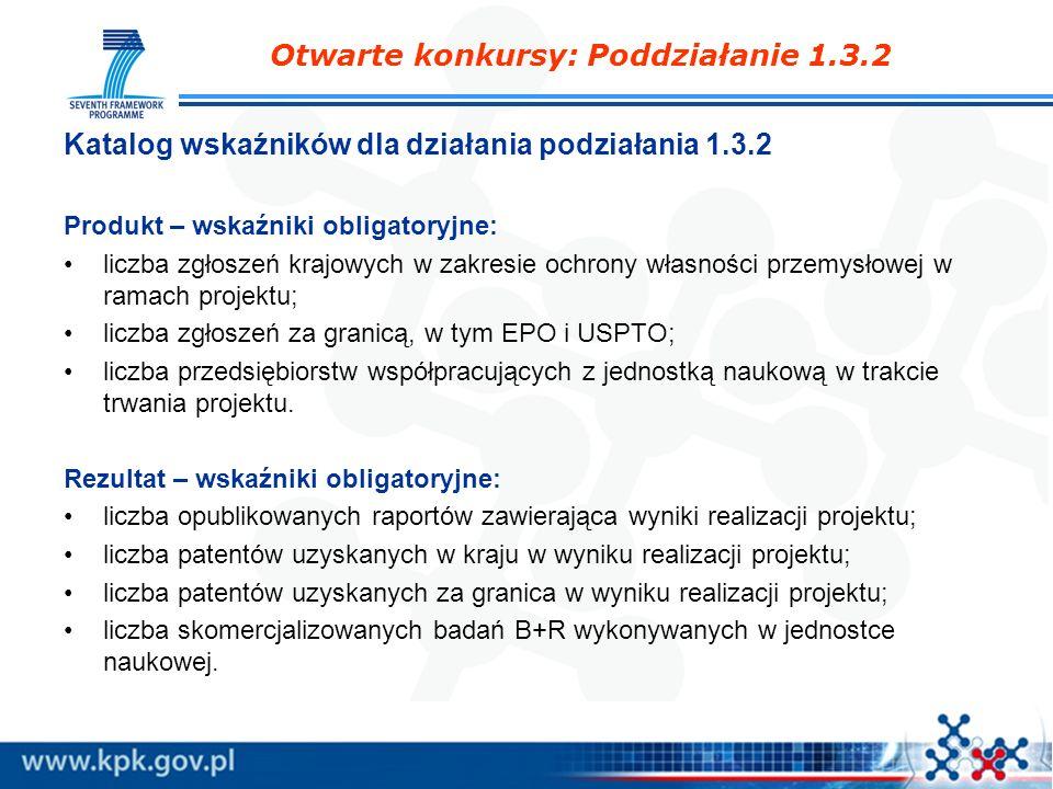 Katalog wskaźników dla działania podziałania 1.3.2 Produkt – wskaźniki obligatoryjne: liczba zgłoszeń krajowych w zakresie ochrony własności przemysło