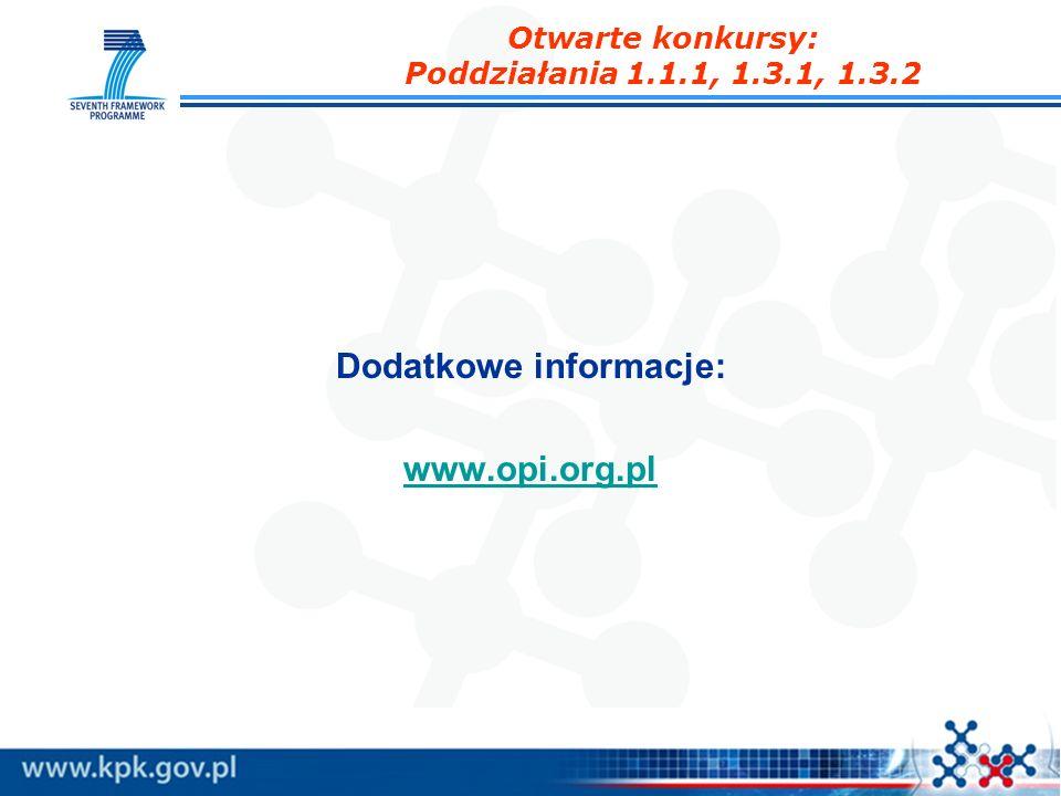 Dodatkowe informacje: www.opi.org.pl Otwarte konkursy: Poddziałania 1.1.1, 1.3.1, 1.3.2