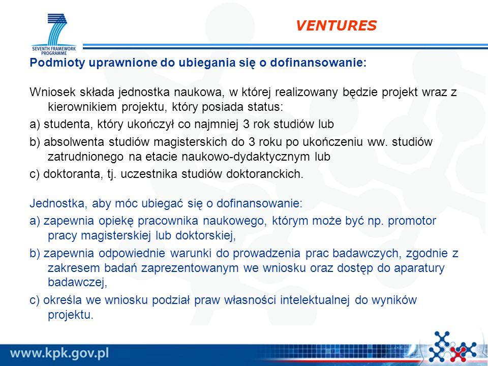 VENTURES Podmioty uprawnione do ubiegania się o dofinansowanie: Wniosek składa jednostka naukowa, w której realizowany będzie projekt wraz z kierownik