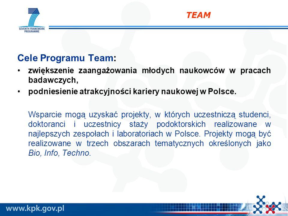 TEAM Cele Programu Team: zwiększenie zaangażowania młodych naukowców w pracach badawczych, podniesienie atrakcyjności kariery naukowej w Polsce. Wspar