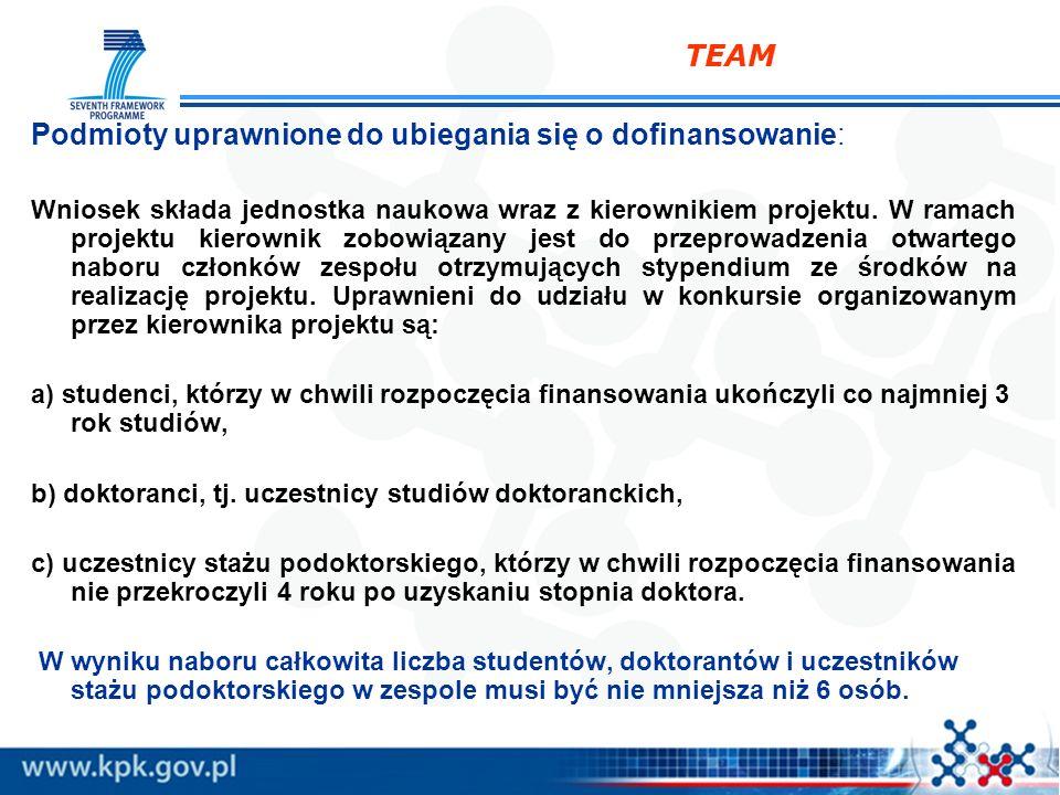 TEAM Podmioty uprawnione do ubiegania się o dofinansowanie: Wniosek składa jednostka naukowa wraz z kierownikiem projektu. W ramach projektu kierownik