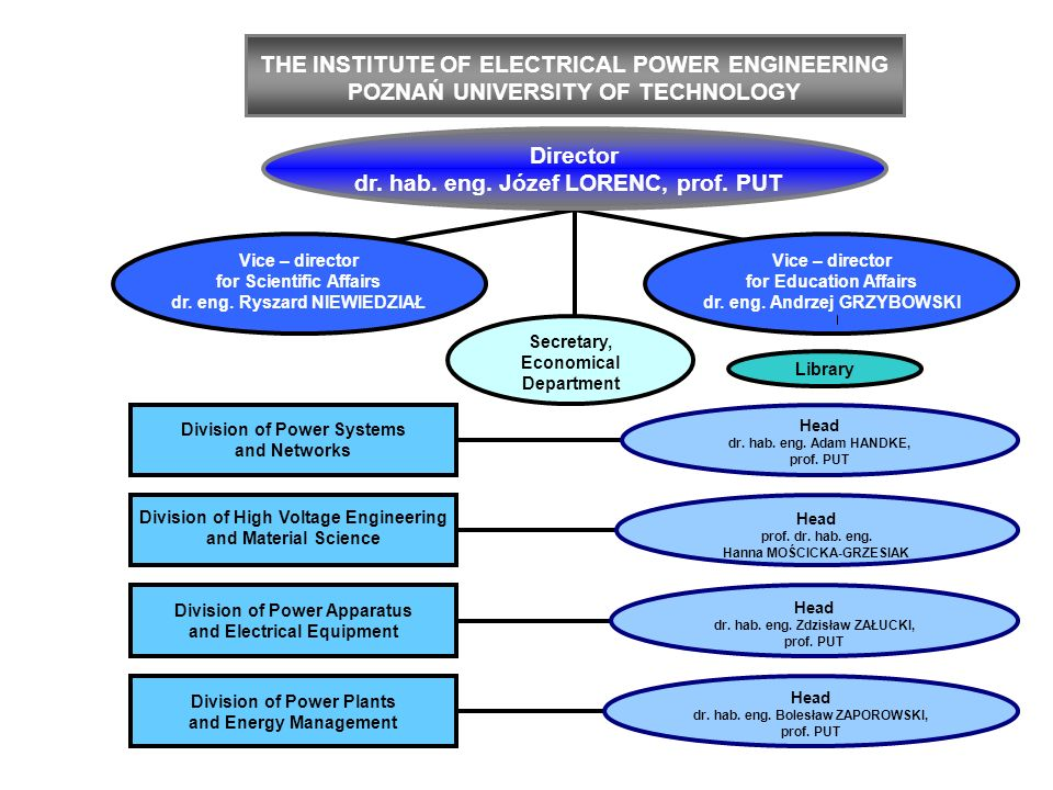THE INSTITUTE OF ELECTRICAL POWER ENGINEERING POZNAŃ UNIVERSITY OF TECHNOLOGY Head dr. hab. eng. Adam HANDKE, prof. PUT Division of Power Systems and