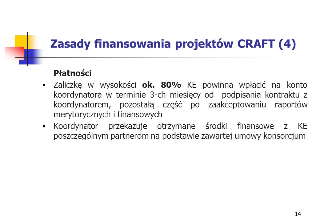 14 Zasady finansowania projektów CRAFT (4) Płatności Zaliczkę w wysokości ok.