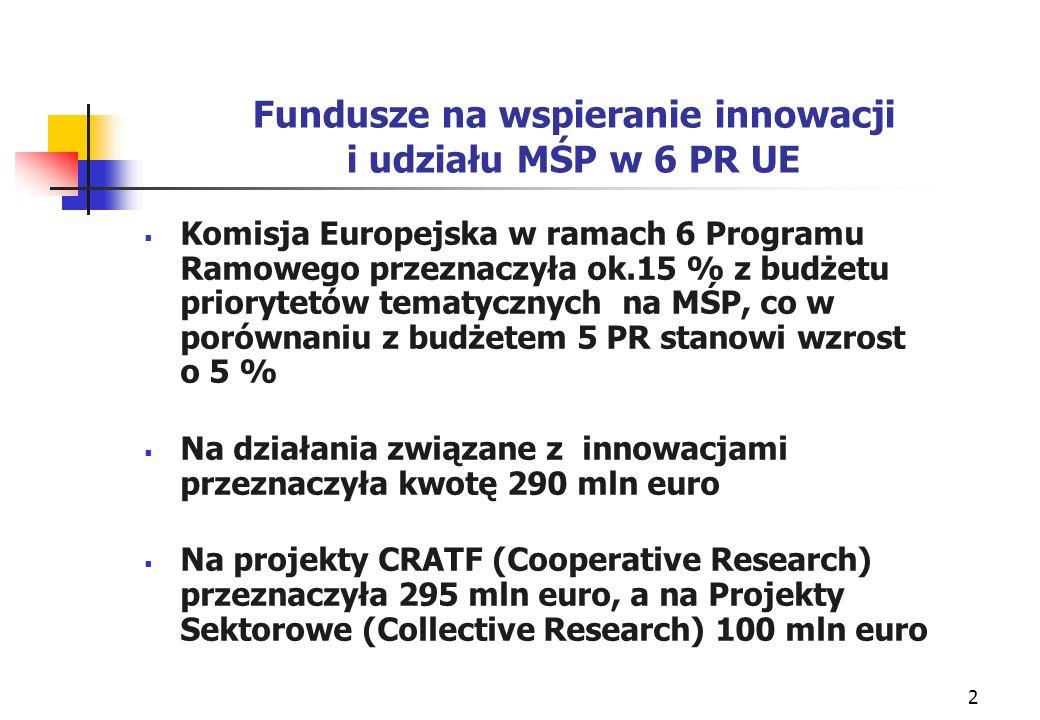 2 Fundusze na wspieranie innowacji i udziału MŚP w 6 PR UE Komisja Europejska w ramach 6 Programu Ramowego przeznaczyła ok.15 % z budżetu priorytetów tematycznych na MŚP, co w porównaniu z budżetem 5 PR stanowi wzrost o 5 % Na działania związane z innowacjami przeznaczyła kwotę 290 mln euro Na projekty CRATF (Cooperative Research) przeznaczyła 295 mln euro, a na Projekty Sektorowe (Collective Research) 100 mln euro