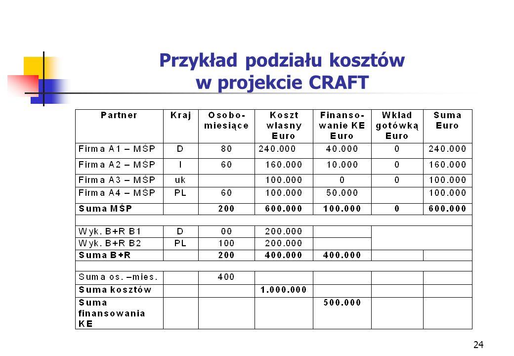 24 Przykład podziału kosztów w projekcie CRAFT