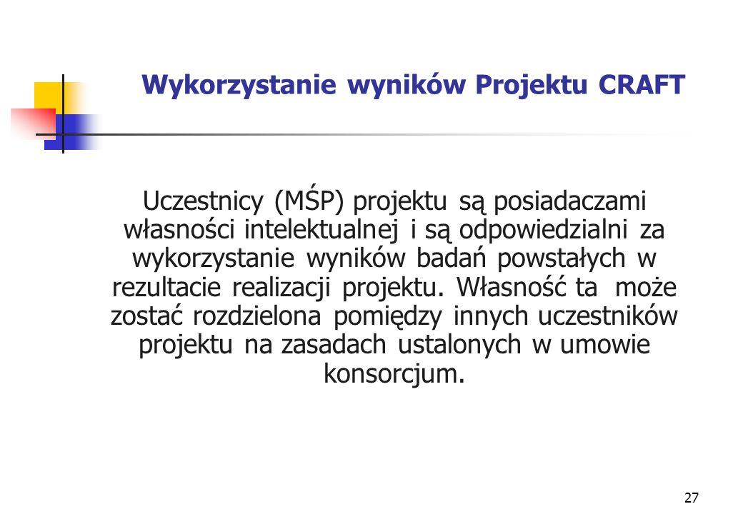 27 Wykorzystanie wyników Projektu CRAFT Uczestnicy (MŚP) projektu są posiadaczami własności intelektualnej i są odpowiedzialni za wykorzystanie wyników badań powstałych w rezultacie realizacji projektu.