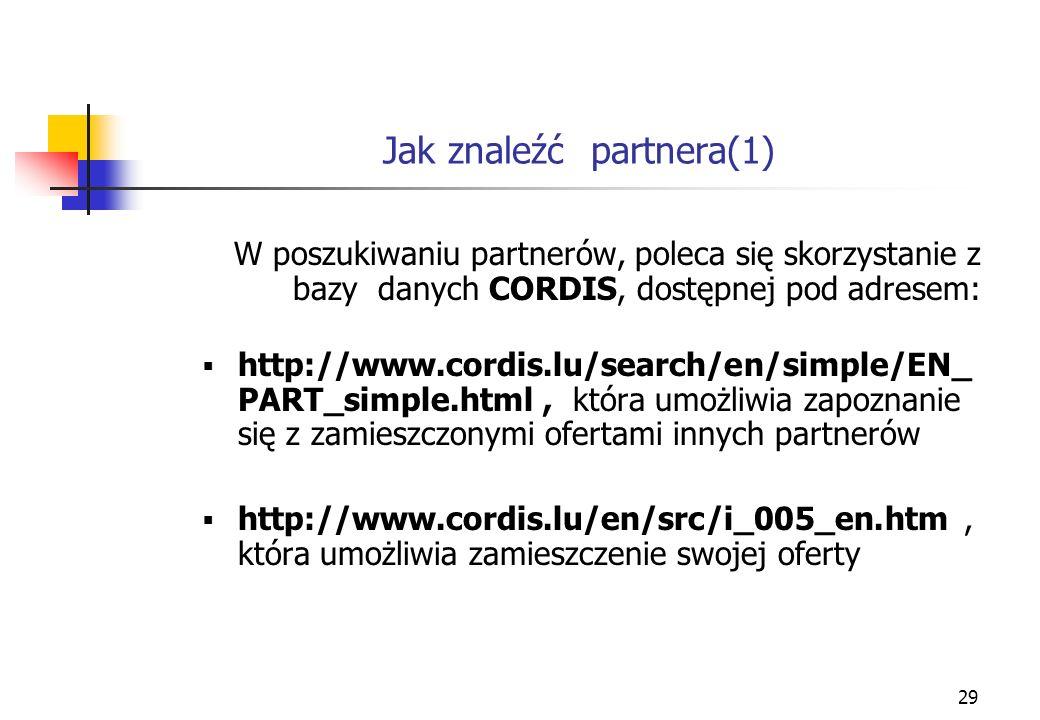 29 Jak znaleźć partnera(1) W poszukiwaniu partnerów, poleca się skorzystanie z bazy danych CORDIS, dostępnej pod adresem: http://www.cordis.lu/search/en/simple/EN_ PART_simple.html, która umożliwia zapoznanie się z zamieszczonymi ofertami innych partnerów http://www.cordis.lu/en/src/i_005_en.htm, która umożliwia zamieszczenie swojej oferty