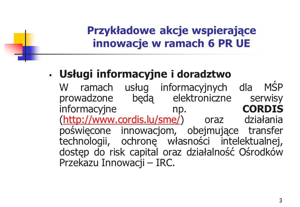 4 Przykładowe akcje wspierające innowacje w ramach 6 PR UE Działania na rzecz przedsiębiorstw Działania te obejmować będą przeprowadzanie analiz rozwoju technologicznego, wdrażanie, działalność marketingową oraz ocenę informacji, które pomocne będą dla naukowców, przedsiębiorców i inwestorów w procesie podejmowania decyzji, m.in.