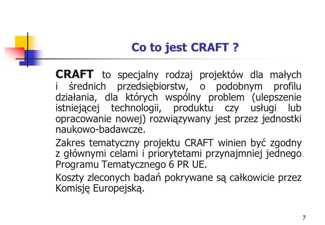 28 Prawa własności intelektualnej w projekcie CRAFT 6 PR UE Prawa dostępu do know-how i wyników projektów Partnerzy MŚP są właścicielami całej wiedzy powstałej w wyniku działań jednostki badawczej.
