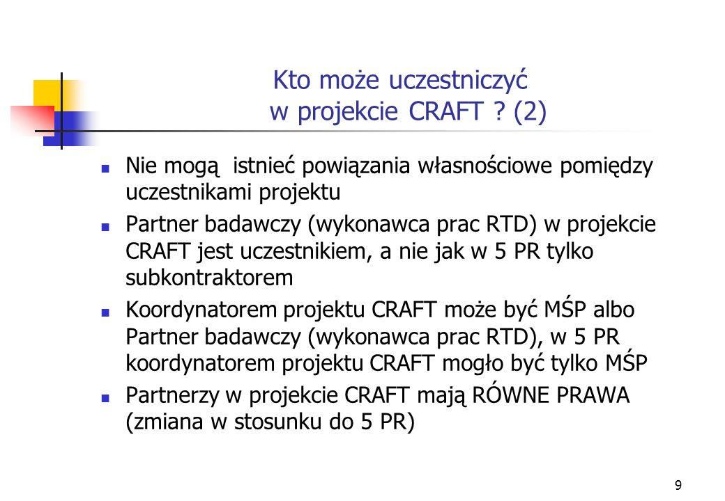 9 Kto może uczestniczyć w projekcie CRAFT .