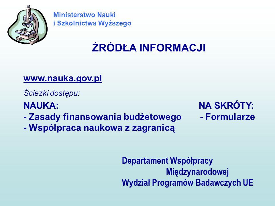 Ministerstwo Nauki i Szkolnictwa Wyższego ŹRÓDŁA INFORMACJI www.nauka.gov.pl Ścieżki dostępu: NAUKA: NA SKRÓTY: - Zasady finansowania budżetowego - Fo